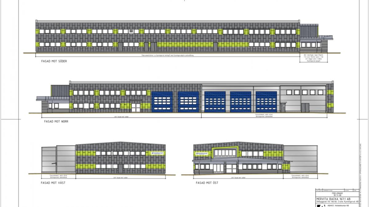 Skisse av ferdig bygg Kynningsrud Nordic Crane i Göteborg